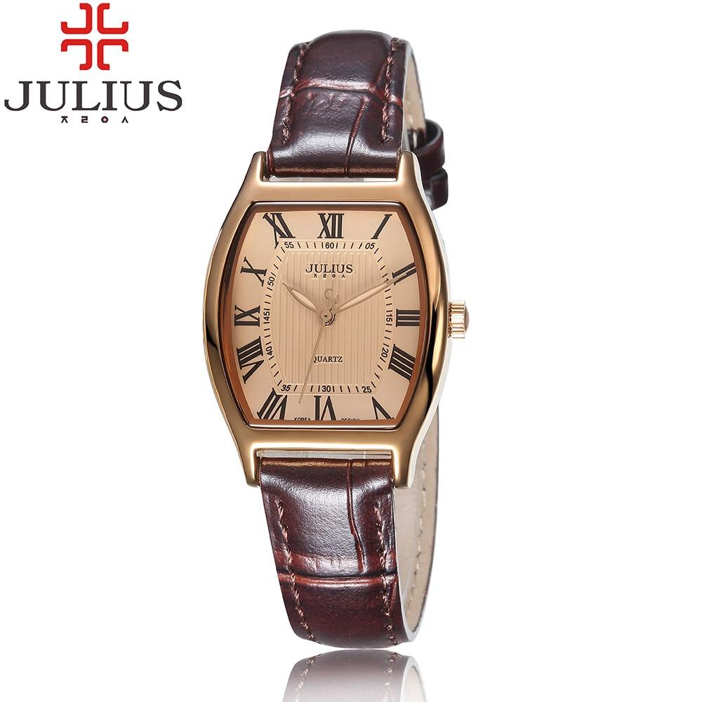 2017 Julius Brand Antique Roman Numerals Women Ladies Quartz Watch Leather Strap Fashion Lovers Couples Wristwatch Montre Femme