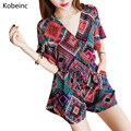 Colorful Geometric Printing Playsuit Women Loose V Neck Short Sleeve Rompers Classic National Style Totem Pattern Overalls