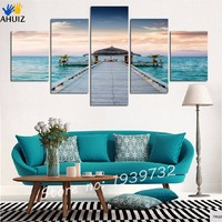 Framed Ready To Hang 5Panel Wall Art Canvas Seascape Painting Cuadros Decoracion Wall Photo For Living