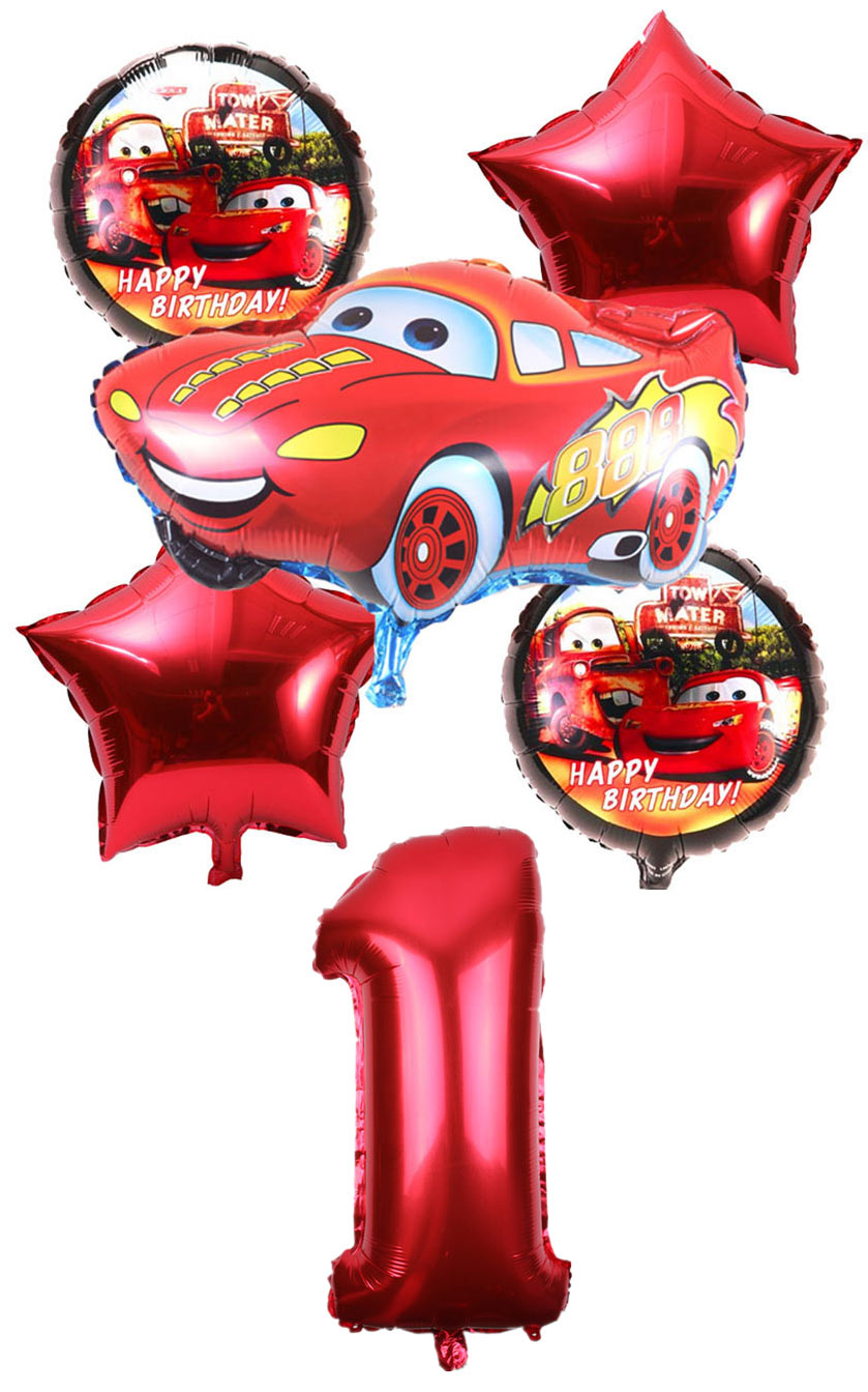 6pcs/lot Cartoon car Foil Balloons star Helium Balloon Inflatable children classic toys happy Birthday balloons Party Supplies