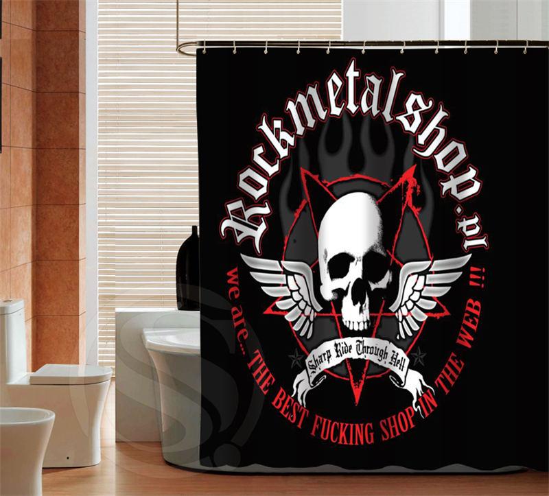 Classic Metal Rock bath curtain latest New custom Shower Curtain Bathroom Decor polyester fabric Bath screens