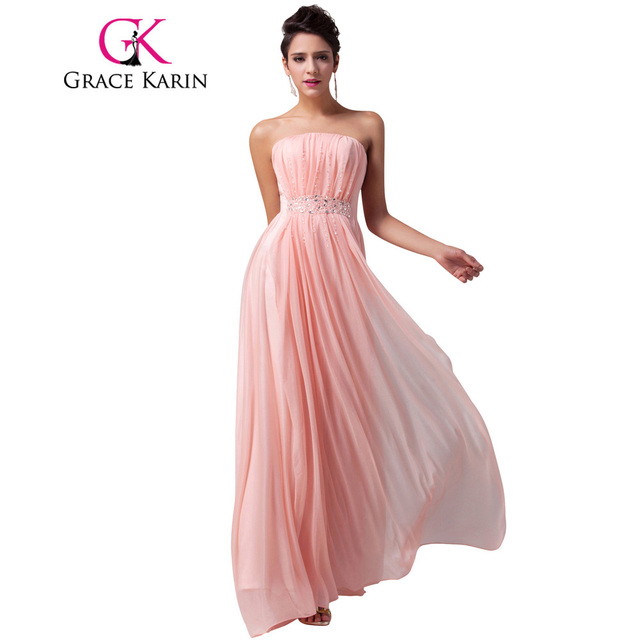 Grace Karin Strapless Long Pink Bridesmaid Dresses Elegant Beautiful ...