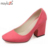 2016 Nuevas mujeres de la moda gruesa de tacón alto bombea seis colores zapatos cómodos zapatos de la boda bombas de oficina señoras primavera verano