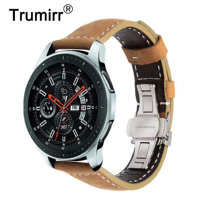 Italy Genuine Leather Watchband 22mm 20mm for Samsung Galaxy Watch 46mm 42mm Quick Release Band Steel Butterfly Clasp Belt Strap
