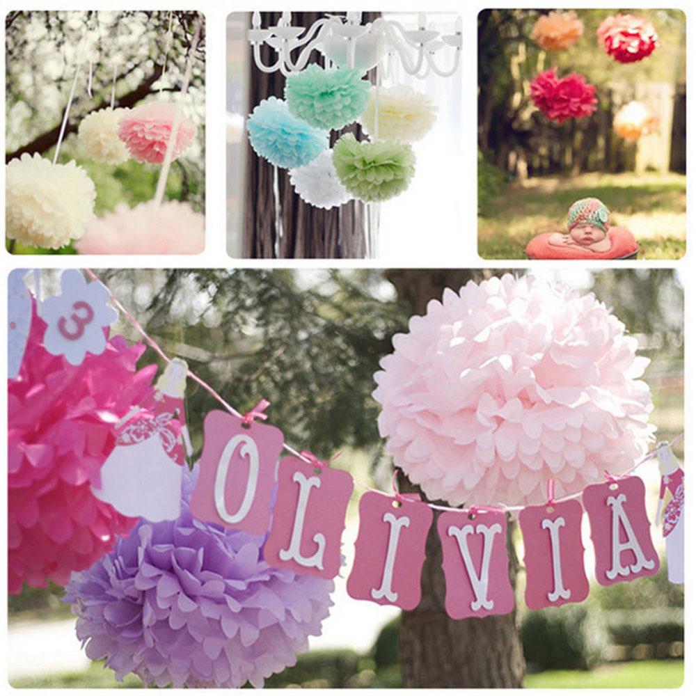 Hanging Tissue Paper Pom Pom Lantern Pull Flower Balls 4 Inch 10cm