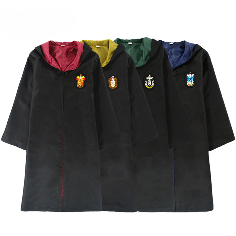 Adult Cosplay Costumes Harri Potter Robe Cape with Tie Scarf Wand Glasses Ravenclaw Gryffindor Hufflepuff Slytherin Robe Uniform