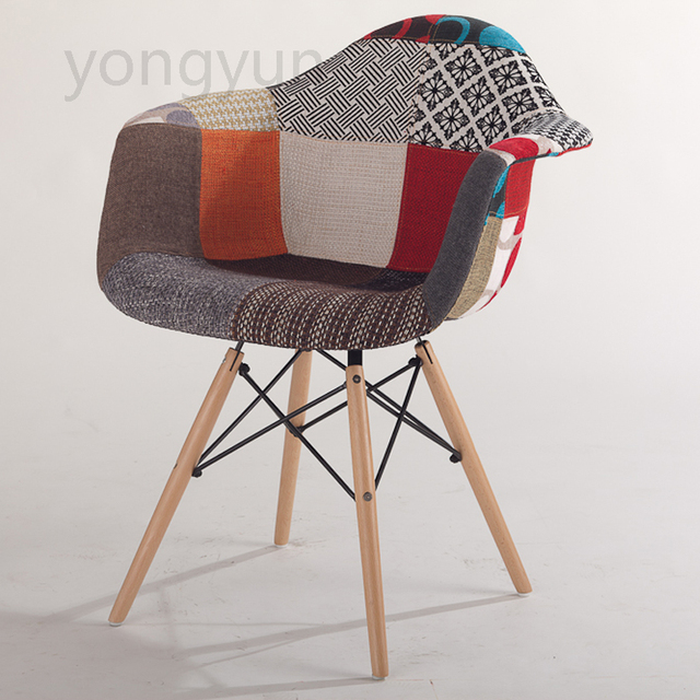 Adult Chair Casual Plastic Dining Cloth Art Eat Chair Wood Leg Cloth Chair  Armchair Creative Furniture