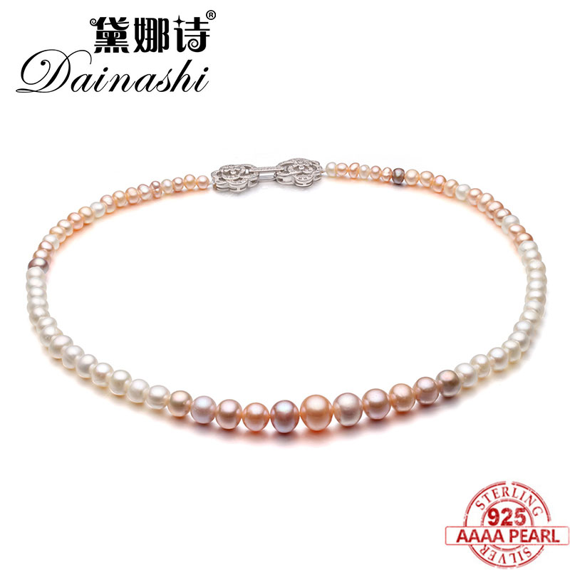 Dainashi high quality pearl necklace real fresh water pearl necklaces 925 sterling silver flower button valuable gifts for womenDainashi high quality pearl necklace real fresh water pearl necklaces 925 sterling silver flower button valuable gifts for women