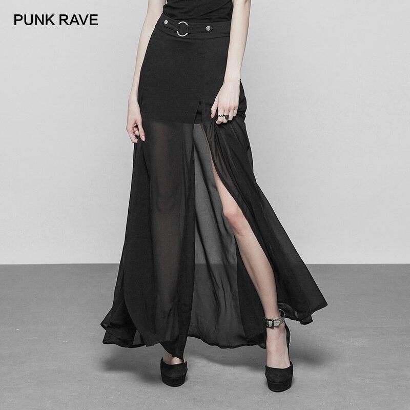 PUNK RAVE nouveau gothique femmes noir Long deux couches en mousseline de soie joint torique et ceinture sangle Maxi jupe Sexy en mousseline de soie fente dentelle transparente