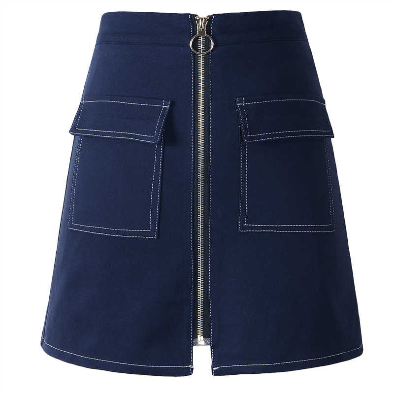 Neophil été Denim jupes femmes fermetures éclair poches Mini Preppy Style Wrap a-ligne courte école Jupe Tutu Saia Jupe Crayon S1706