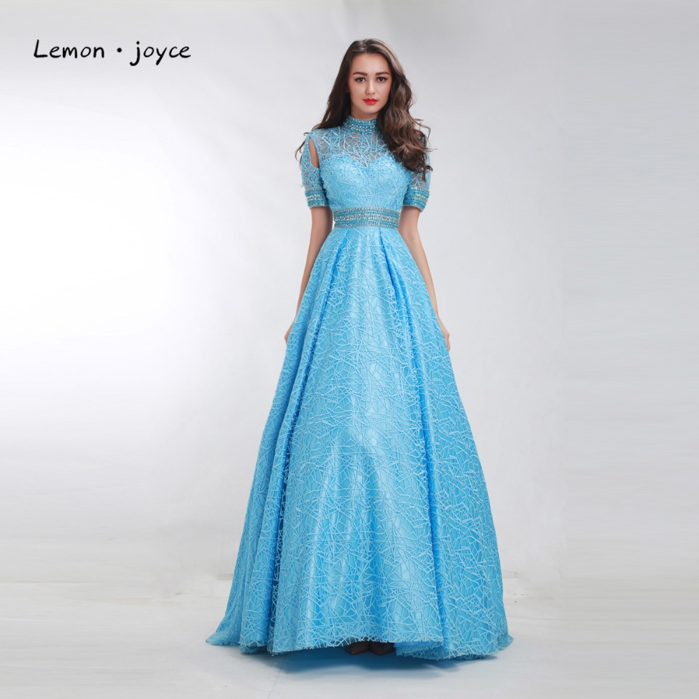 Blue Prom Dresses 2018 with Short Sleeves Illusion A Line Party ...