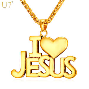 Heart Necklace Chain Pendant Gift U7 Stainless-Steel Jesus Christian Gold-Color Jewelry-Men/women