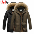 Uni-Splendor 2016 Long Winter Men Jacket With Velvet Warm Men's Parkas Korean Style Slim Fit Stand Collar Zipper Outerwear YN888