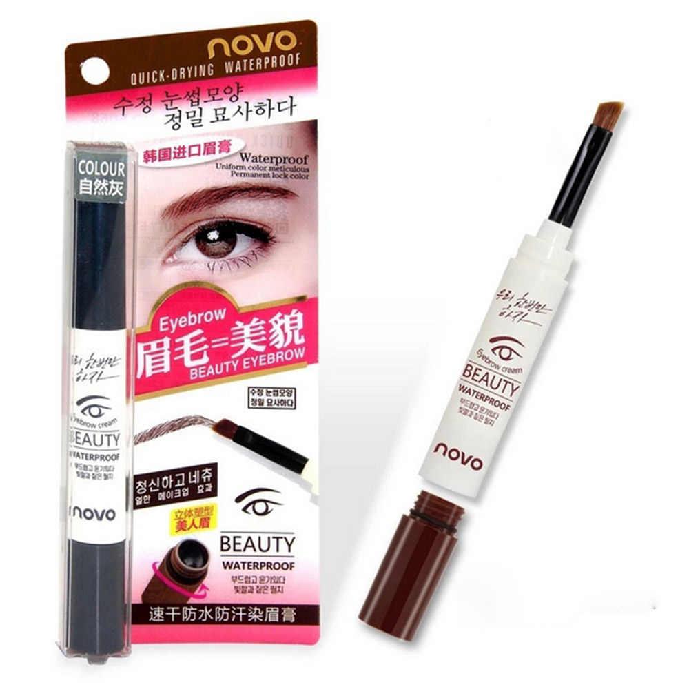 נובו מותג 3 צבע קרם גבות משחת עמיד למים שנמשך טבעי עיניים גבות ג 'ל ארוך טווח גבות Enhancer איפור עט עם מברשת