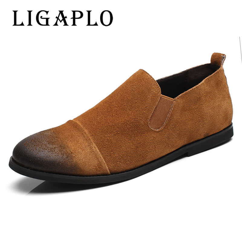 Men's Flats New Brand Casual Men 100% Genuine Leather loafers Retro Shoes Handmade moccasins shoes Dress Shoes Men suede Leather handmade men flats shoes luxury brand business casual men s shoes breathable loafers genuine leather fashion shoes moccasins 8
