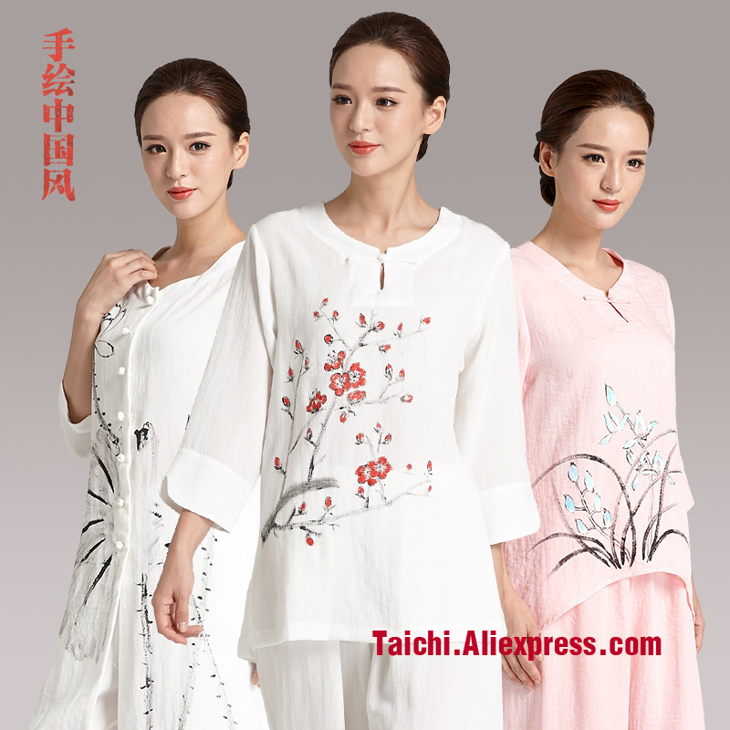 Hand Painted Flax Tai Chi Uniform Woman Summer Taiji Boxing Practice Clothes Martial Art Performance Clothing
