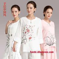 มือทาสีลินินไทเก็กชุดผู้หญิงฤดูร้อนT Aijiมวยเสื้อผ้าซ้อมศิลปะการป้องกันตัวประสิทธิภาพเสื้อผ้า