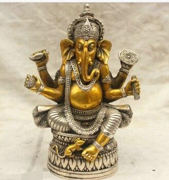 [old craft ] Chinese Tibet Culture Silver Bronze Ganapati Ganesh Lord Ganesha Statue Buddha (A0314)