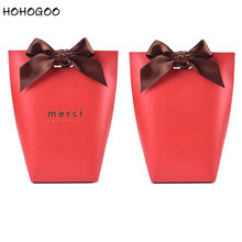 HOHOGOO 50pcs/set Red MerciCandy Gift Bag Paper French Thank You Wedding Engagement Baby Shower Party Favor Bags Box