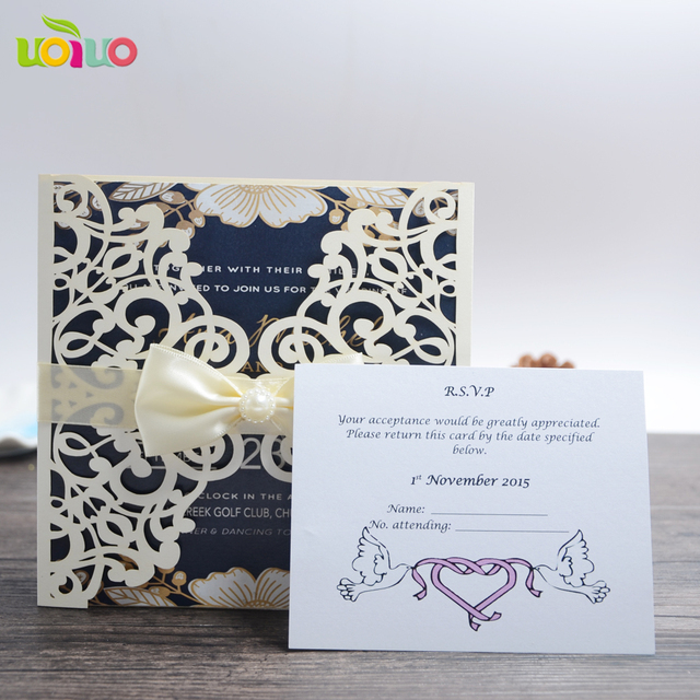 50sets Traditional Lace Wedding Invitation Card Various Colors Favor With Ribbon And Rsvp