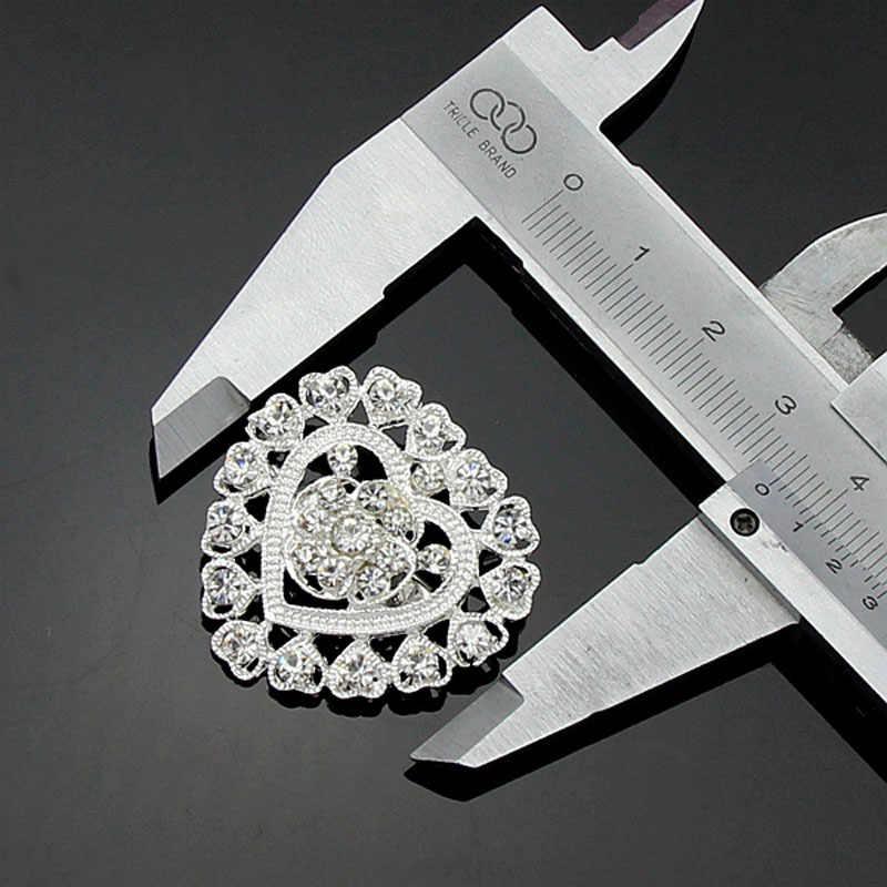 Mode Menarik Elegant Jantung Kristal Berlian Imitasi Perak-warna Bros untuk Wanita Bros Pins Jewelry