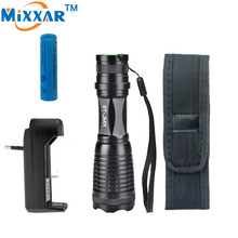 Ezk30 LED flashlight torch e17 CREE XM-L T6 9000LM High Power Focus lamp Zoomable light with one battery, charger and sleeve
