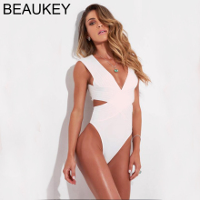 BEAUKEY White Sleeveless New Summer 2018 Rayon Women's Sexy Bandage Bodysuits