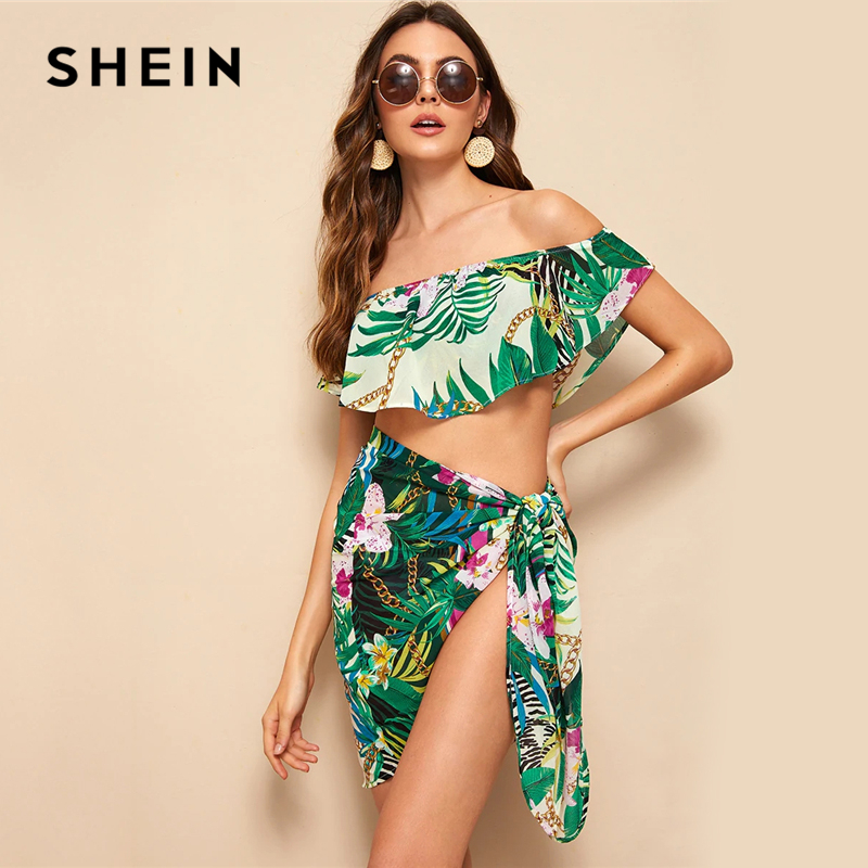 SHEIN Boho Multicolor Off Shoulder Foldover Tropical Crop Top and Tie Skirt Set Women Beach Style Vacation Sexy Two Piece Set 1
