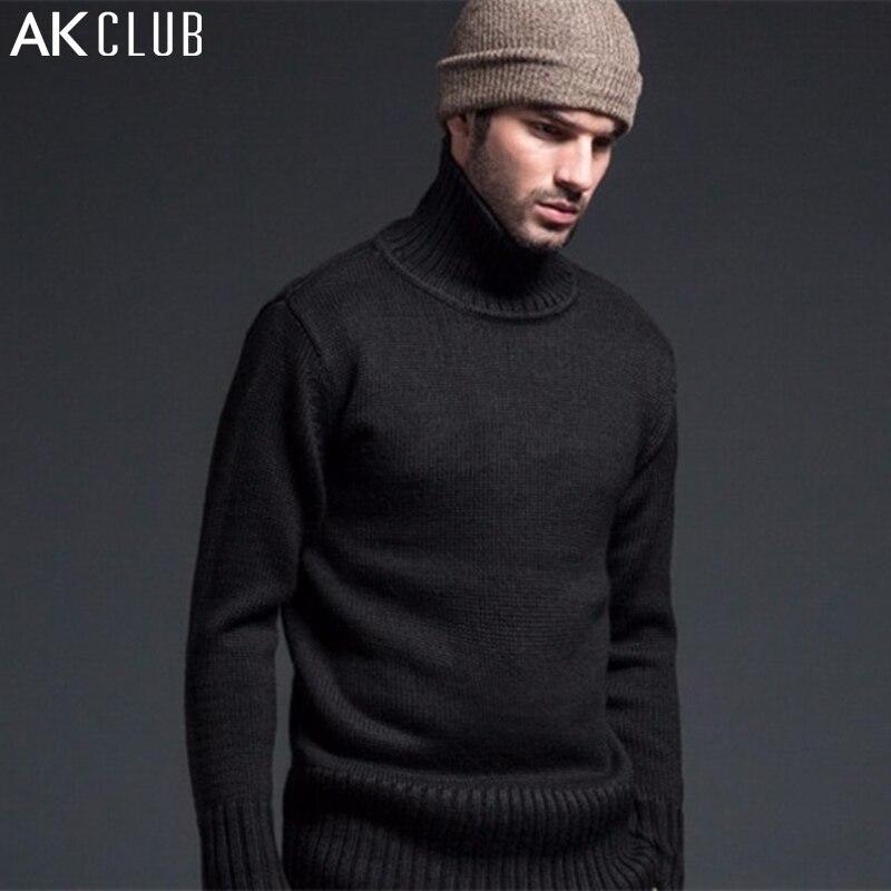 AK CLUB Brand Sweater Men Woolen Sweater 1KG Weight Flying Tigers Wool Blend Classic Label Turtle-Neck Men Wool Sweater 1203003