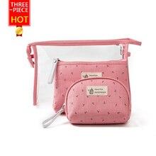 HOT womens bags three-piece suit PVE Transparent wash bag+Cosmetic Bags+handbag Multifunction zipper economic