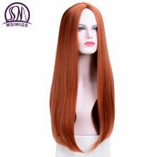 MSIWIGS ארוך ישר פאות סינטטי כתום צבע נשים של פאת Cospaly מרכזי חלק שיער כסף אפור לבן אדום צבע