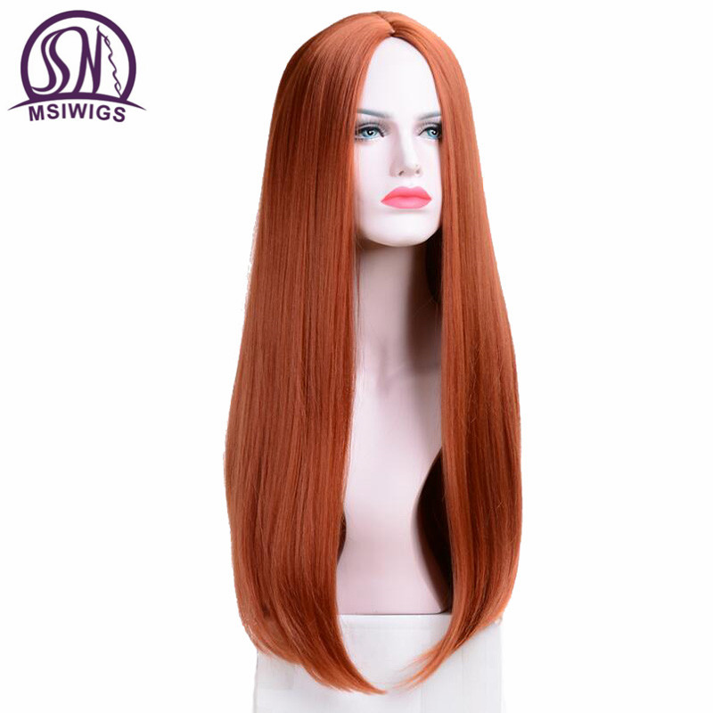 MSIWIGS Long Straight Wigs Synthetic Orange Color Women's Wig 24 Inches Central Part Hair Silver Grey White Red Colour