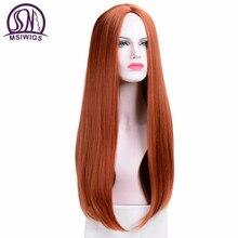 MSIWIGS długie proste peruki syntetyczny pomarańczowy kolor damska peruka Cospaly środkowa część włosów srebrny szary biały czerwony kolor