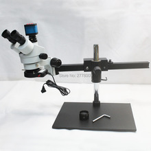Buy online 3.5X~90X Trinocular Guide Stereo Zoom Microscope With 14MP 1080P HDMI USB Video Camera 25cm Working Distance PCB Inspection