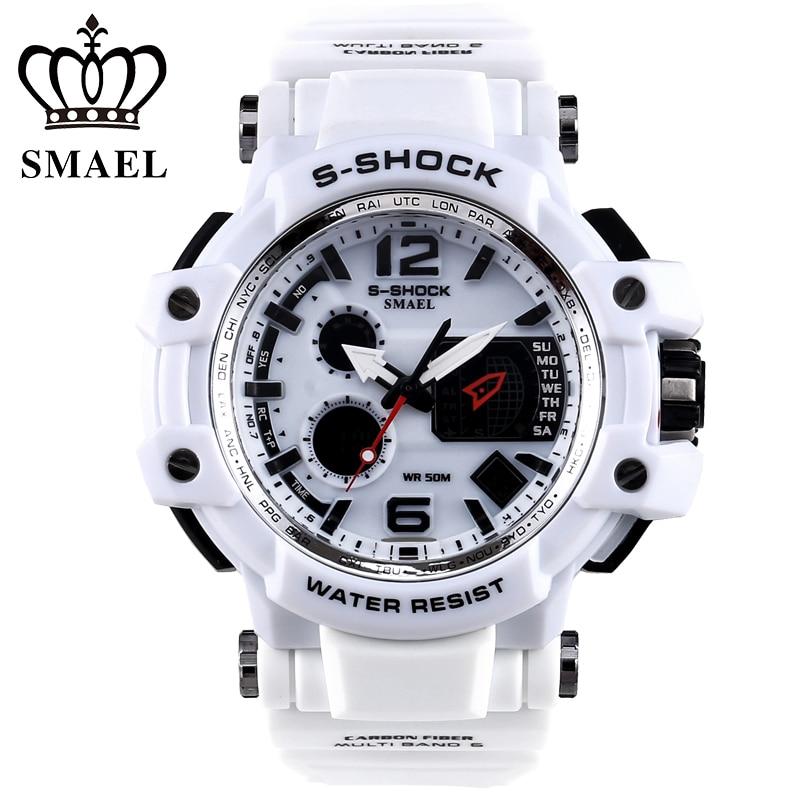 SMAEL Brand White Men Sport Watch LED Digital 30M Waterproof Casual Watch S Shock Male Clock