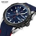 MEGIR мужские модные спортивные кварцевые часы с силиконовым ремешком, аналоговые наручные часы с хронографом для мужчин, военные повседневн...