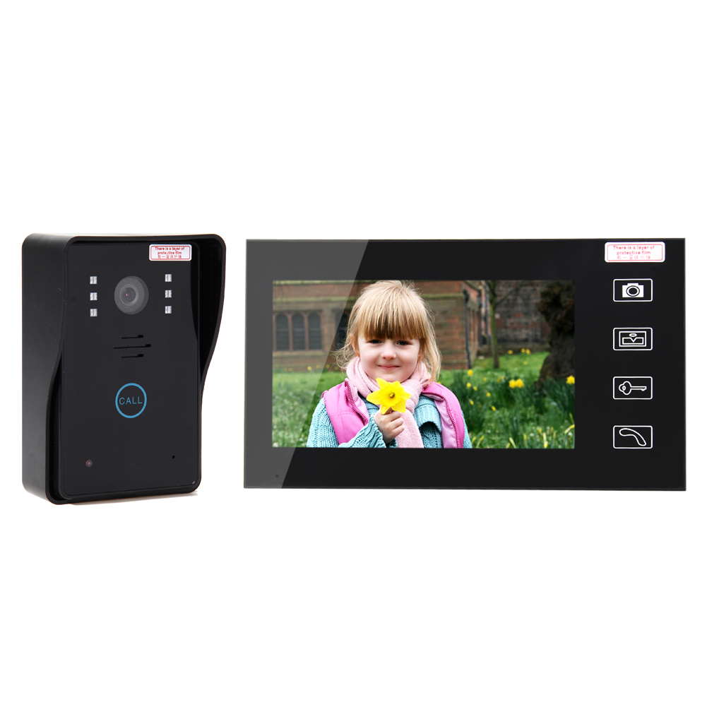 7 TFT 2.4G Wireless Video Door Phone 2 Monitors System Intercom Camera With Recorder Doorbell Home Security Camera Monitor yobang security free ship 7 video doorbell camera video intercom system rainproof video door camera home security tft monitor