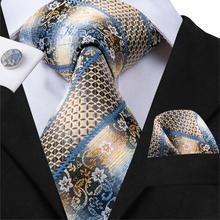 купить Hi-Tie Men's Ties Classic Striped&Floral Tie Silk Neckties Pocket Square Cufflinks Set Wedding Party Business Tie Set C-3001 по цене 390.57 рублей