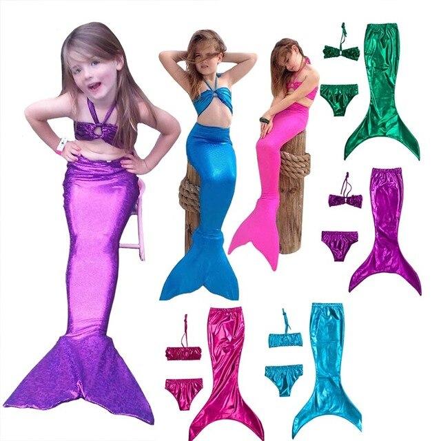 New Swimwear 3pcs Cute Children Kids Girls Cosplay Mermaid Tail Princess Ariel Bikini Swimsuit Halloween Costume Dress