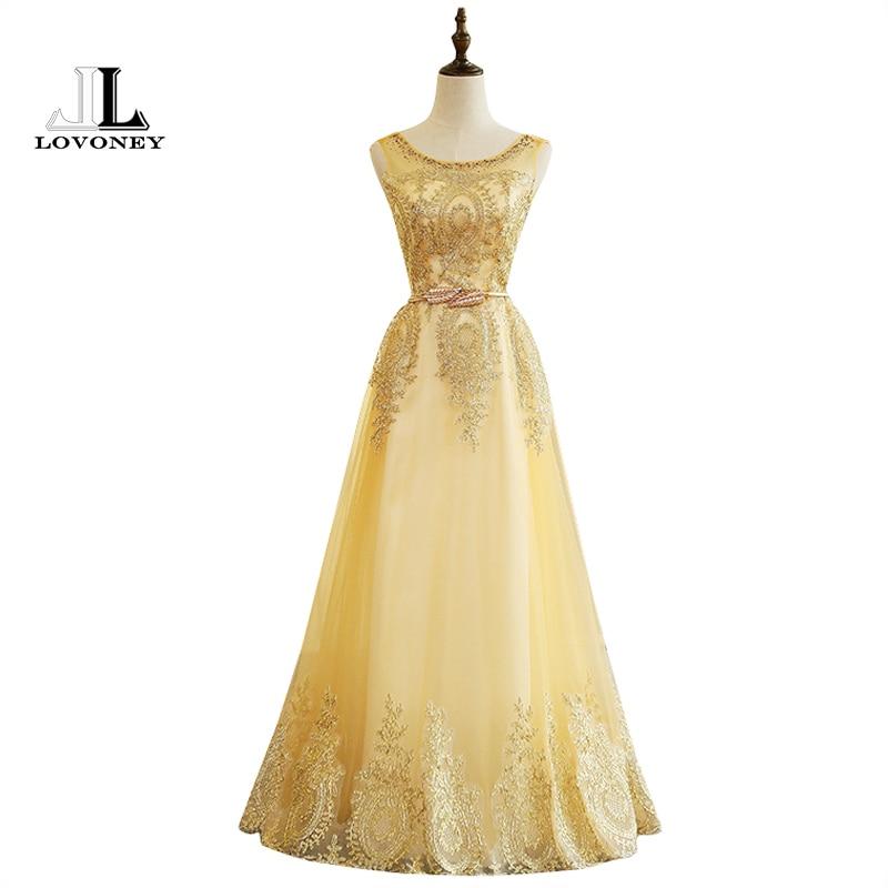 LOVONEY M224 Real Photo A-Line Appliques Golden Long   Prom     Dresses   2019 Graduation Party   Dresses   Lace-Up Back Vestido De Festa
