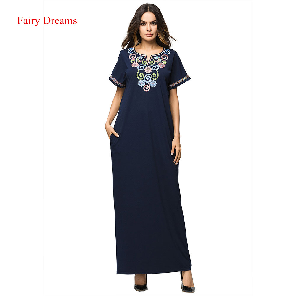 Muslim Dress Short Sleeve Women Abayas Kaftan Turkish Summer Dresses Arab  Dubai Islamic Clothing New Style d31944f51