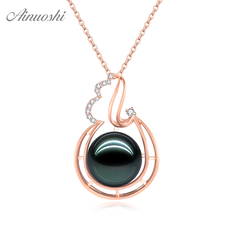 AINUOSHI 18K Gold 12mm Black Tahiti Pearl Pendant 18K White Gold/Yellow Gold/Rose Gold Diamond Droplet Pendant Separate Pendant AINUOSHI 18K Gold 12mm Black Tahiti Pearl Pendant 18K White Gold/Yellow Gold/Rose Gold Diamond Droplet Pendant Separate Pendant