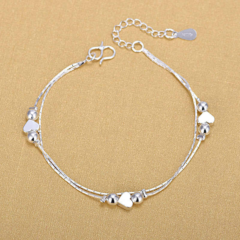 Silver Plated Anklets 925 Fashion Silver Jewelry Chain Anklet for Women Girls Friend Foot Barefoot Sandals Beach Leg Jewelry