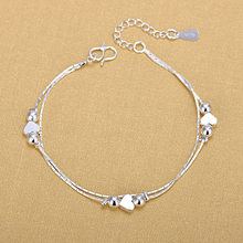 Silver Plated Anklets 925 Fashion Silver Jewelry Chain Anklet for Women Girls Friend Foot Barefoot Sandals Beach Leg Jewelry(China)