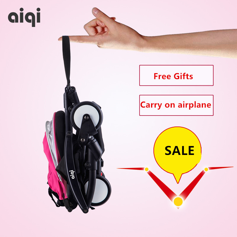 5.8kg Aiqi light baby ultra-light car umbrella child folding portable summer trolleys baby stroller free gifts  fast delivery lightweight strollers aiqi ultra light white frame good quality baby stroller baby umbrellacar boarding stroller accessories