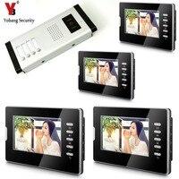 YobangSecurity 7 Inç Renkli Kablolu Video Kapı Zili Kapı Zili, Yağmur Geçirmez Kapı Telefonu Kamera Sistemi 4 Birimleri Için Villa Daire