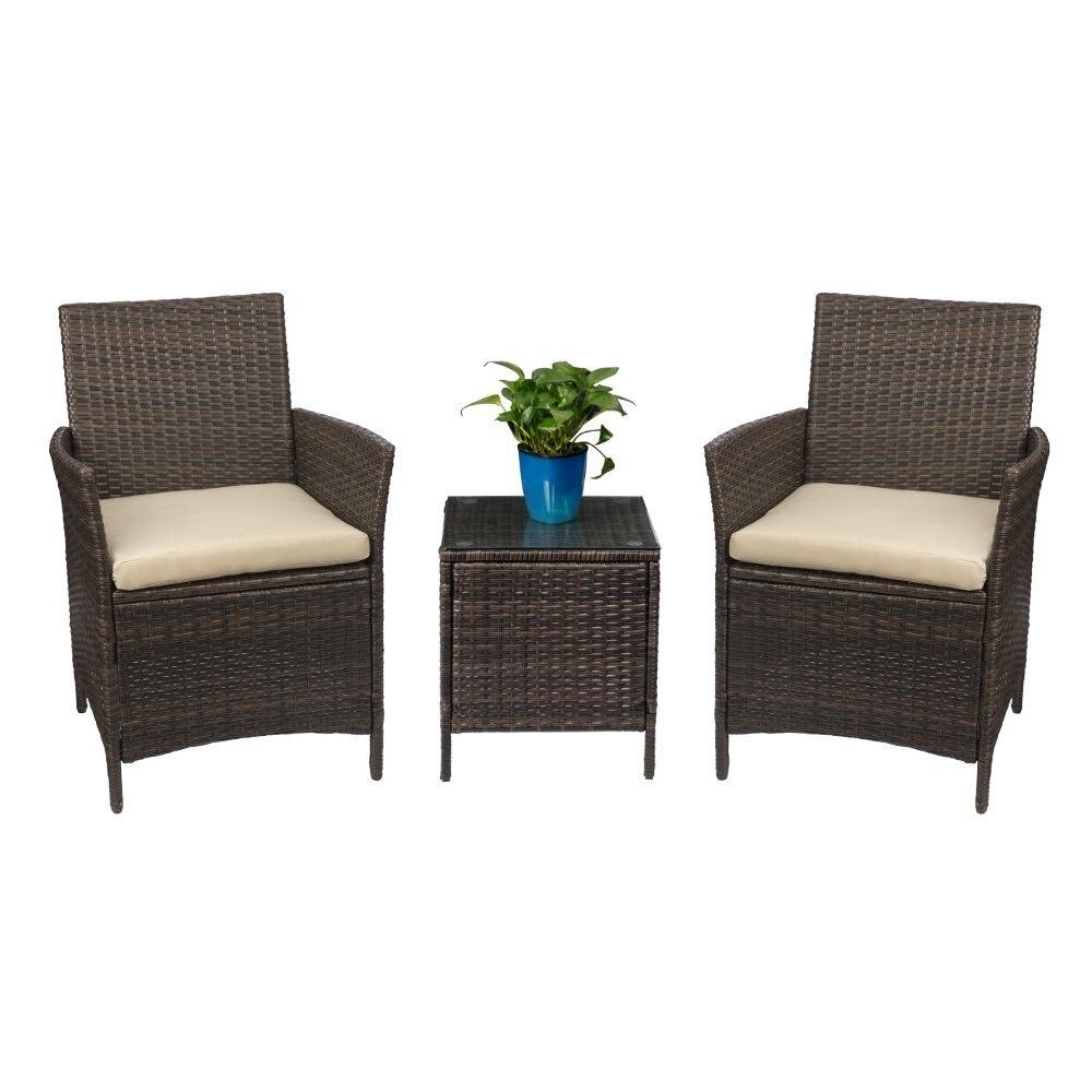 Homall Патио крыльцо мебель комплект 3 предмета PE ротанга Стулья бежевый подушки со столом открытый комплекты садовой мебели коричневый
