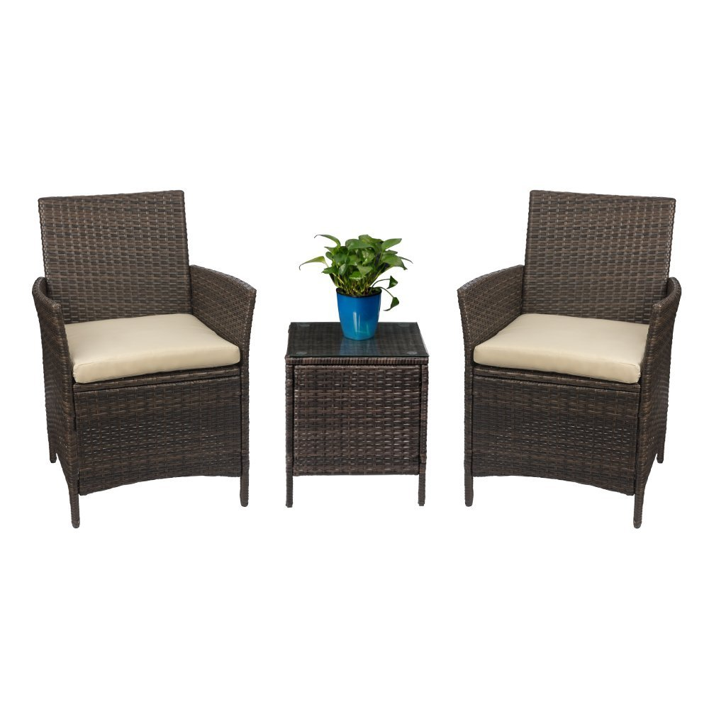Homall Patio Porch Furniture Set 3 Piece Pe Rattan Wicker