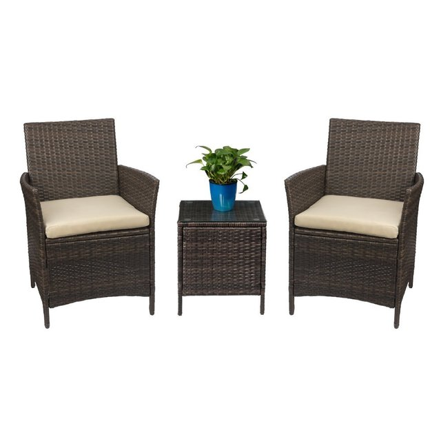 Homall Patio Porch Furniture Set 3 Piece Pe Rattan Wicker Chairs