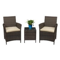 homall Patio Porch Furniture Set 3 Piece PE Rattan Wicker Chairs Beige Cushion With Table Outdoor Garden Furniture Sets Brown
